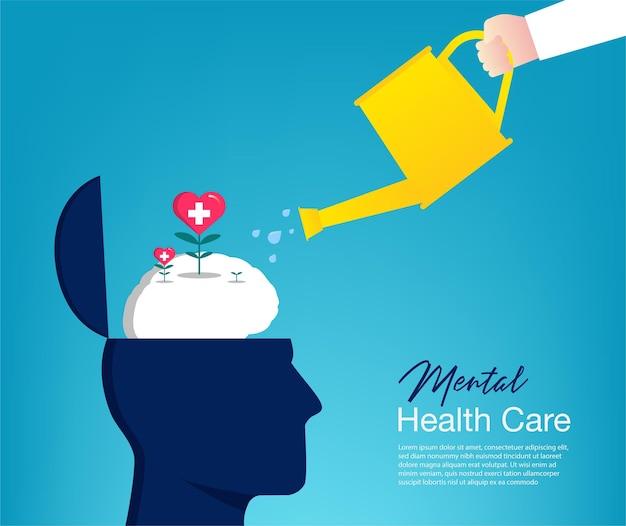 Mão molhando o conceito de planta do cérebro. cuidados de saúde mental
