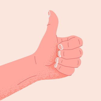 Mão mostrando o símbolo ok ou bem gesto do polegar para cima como ilustração vetorial positiva