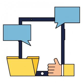Mão móvel como e-mail social media de chat