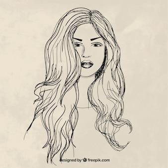 Mão mulher tirada com cabelos longos