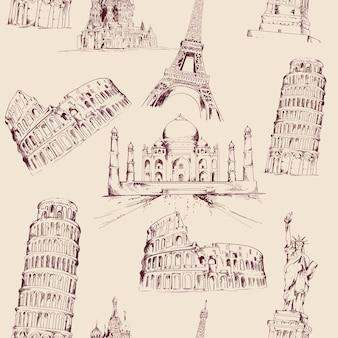 Mão mundo desenhado monumentos padrão