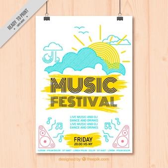Mão música alegre desenhado festival poster