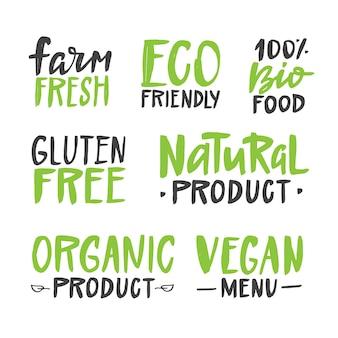 Mão natural orgânica desenhada etiquetas caligráficas.