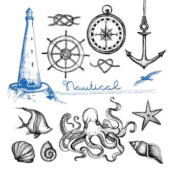 Mão náutica desenhada conjunto