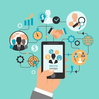 Mão negócio, com, smartphone