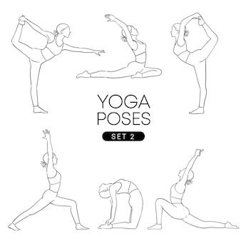 Mão negra desenhada de uma garota em muitas poses de ioga diferentes, isoladas no branco.