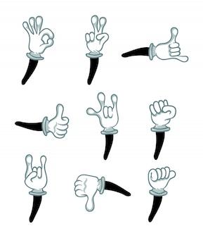 Mão no conjunto isolado de gesto de luva branca