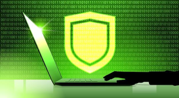 Mão no laptop trabalhando o painel de escudo virtual