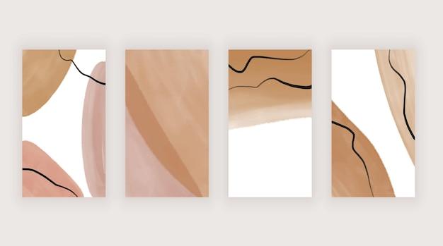 Mão nua desenhando histórias de boho. modelo moderno para mídia social