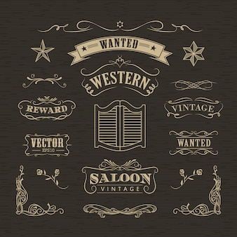 Mão ocidental desenhada banners vintage distintivo vector