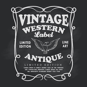 Mão ocidental quadro desenhado rótulo lousa vintage banner vector