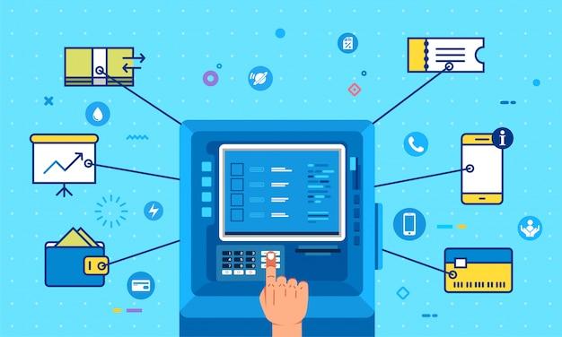 Mão operar caixa eletrônico para pagar contas.