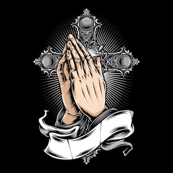 Mão orando e logotipo