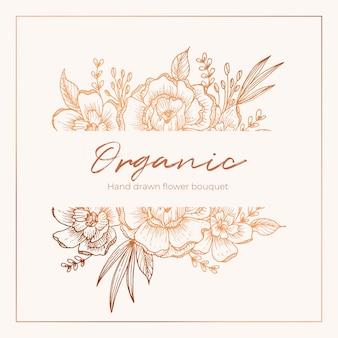 Mão orgânica desenhada cartão floral vetor design jardim flor lavanda rosa branca anêmona eucalyptus tomilho folhas elegantes hortaliças, baga, flor bouquet impressão.