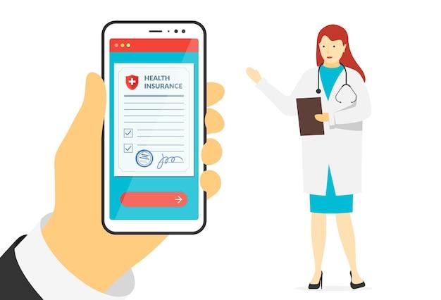 Mão paciente segurando um smartphone com o formulário de apólice de seguro de saúde e placas on-line de médica