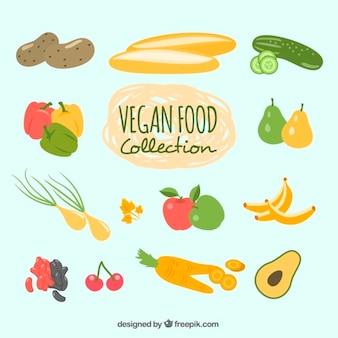 Mão pacote de comida vegan desenhada