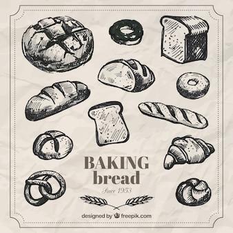 Mão pacote de cozer pão desenhada