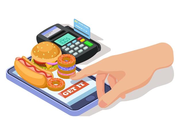 Mão pedir comida com telefone
