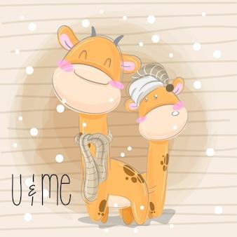 Mão pequena girafa desenhar ilustração