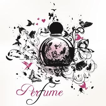 Mão perfume fundo desenhado ornamental