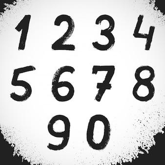 Mão pintado de preto números