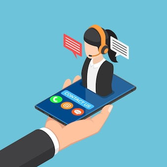 Mão plana 3d isométrica empresário segurando o smartphone com o ícone do call center feminino. conceito de suporte de serviço ao cliente.