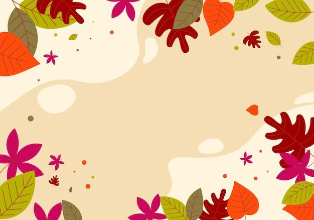 Mão plana abstrata desenhar folhas de outono fundo. ilustração vetorial.