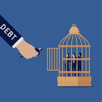 Mão plana de negócios segure o empresário para colocar na metáfora da gaiola da dívida.