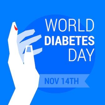 Mão plana do dia mundial da diabetes com gota de sangue