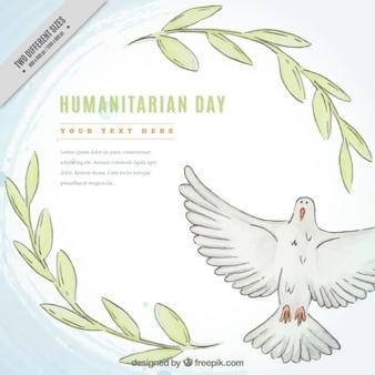 Mão pomba tirada e folhas de fundo dia humanitária