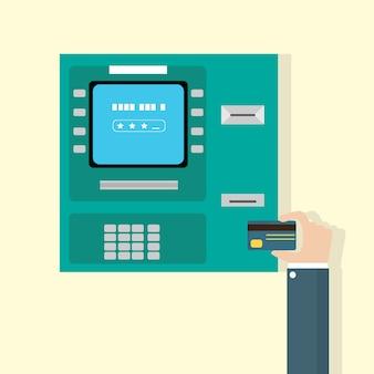Mão, pôr, cartão crédito, em, caixa eletrônico, máquina dinheiro