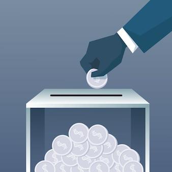 Mão, pôr, moeda, em, doar, caixa, para, caridade, contribuição