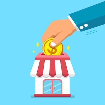 Mão, pôr, moeda, em, loja negócio