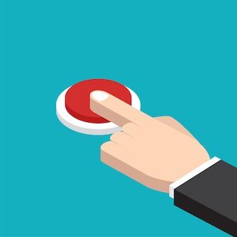 Mão pressionando o botão vermelho