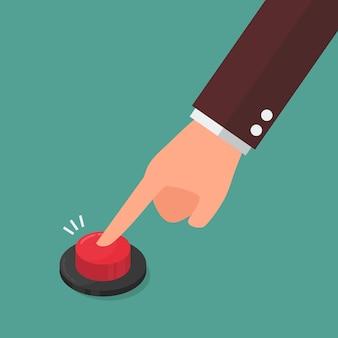 Mão pressionando o botão vermelho.