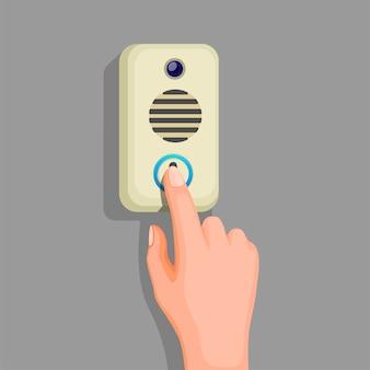 Mão, pressione o botão da campainha na parede. conceito em vetor de ilustração de desenho animado