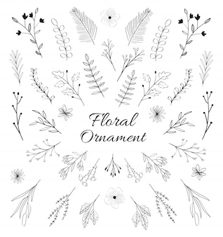 Mão preto e branco desenhado ornamento floral.
