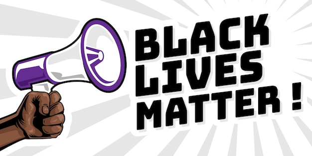 Mão protestando e segurando o megafone porque vidas negras importam