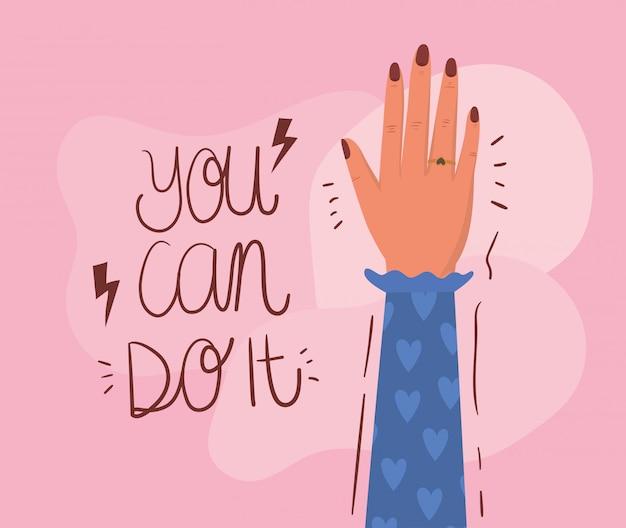 Mão punho e você pode fazê-lo de empoderamento das mulheres. ilustração do conceito feminista de poder feminino