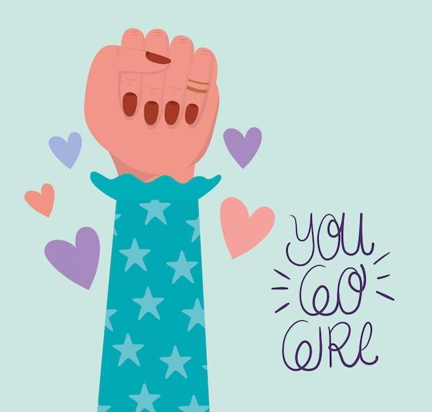 Mão punho e você vai menina de empoderamento das mulheres. ilustração do conceito feminista de poder feminino