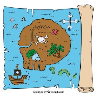 Mão, puxando, pergaminho, ilha, pirata, tesouro