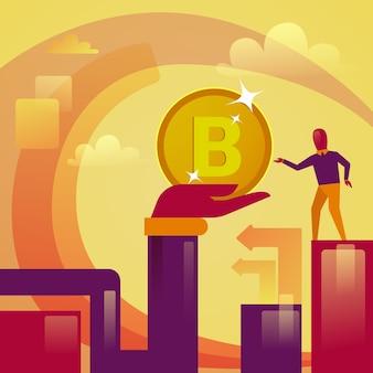 Mão que dá o conceito cripto da moeda do dinheiro da web de bitcoin digital do homem