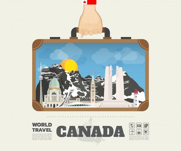 Mão que leva o saco global de infographic do curso e da viagem do marco de canadá.