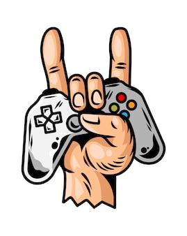 Mão que mantém o controlador de jogo do joystick do gamepad moderno para jogar videogame e mostrar o sinal legal do rock para sempre.