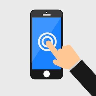 Mão que suporta o smartphone. ícone da tela de toque isolado no fundo.