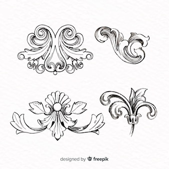 Mão realista desenhada barroco flores vintage