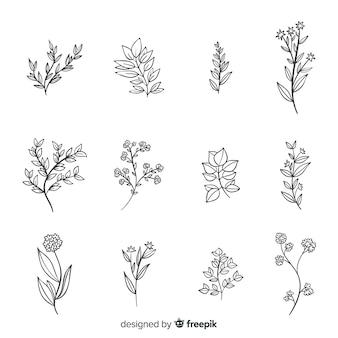 Mão realista desenhada flores e folhas