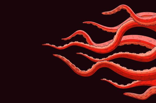 Mão realista desenhado fundo de tentáculos de polvo