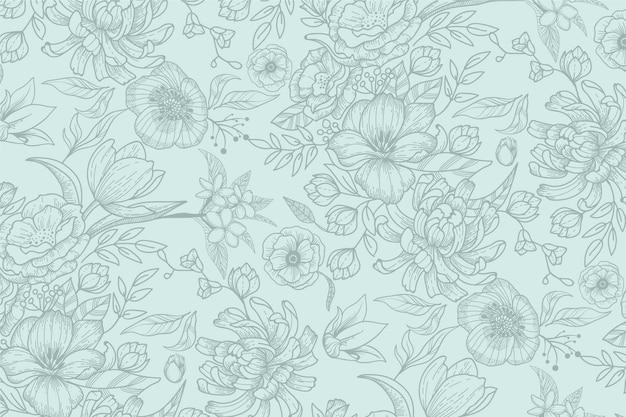 Mão realista desenhado fundo floral