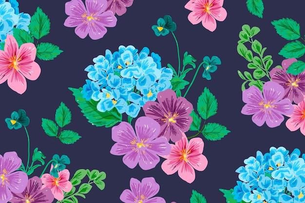 Mão realista pintado fundo floral
